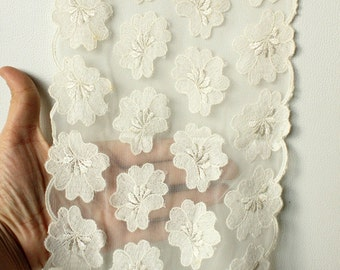 Off White Soft Net Lace Trim With Embroidered Flowers 7 inches wide - 041203L33