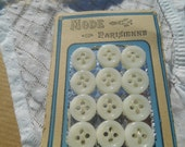 1930's French Milk Glass Buttons Parisienne on Card 16 Unused French Buttons Small Buttons New Old Stock Sewing Jewelry Assemblage