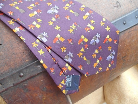 Purple Silk Necktie Unused Emanuel Ungaro Paris Silk Tie Made in Italy Tag Floral Design Necktie #SophieLadyDeParis