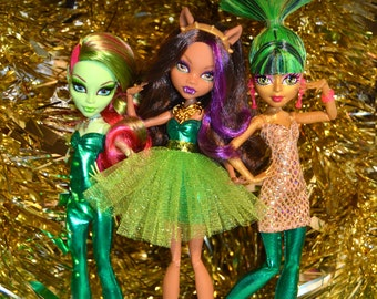 Monster Doll POP of Color GREEN 4 piece Collection w/ accessories high fashion clothes tutu princess skirt