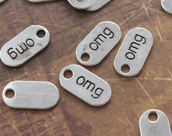 15 Omg Charms Omg Sign Charms Omg Note Charms Antiqued Silver Tone 18 x 9 mm