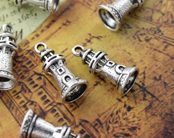 10 Lighthouse Charms Lighthouse Pendants Antiqued Silver Tone 3D 10 x 17 mm