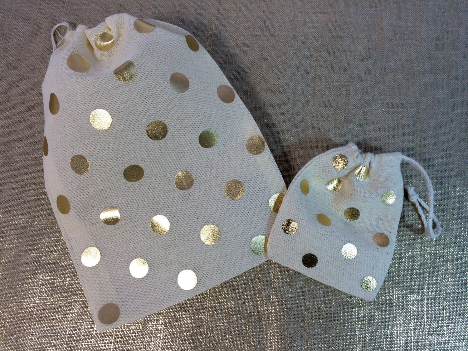Gold Wedding Gift Bags : GOLD or SILVER DOT favor bags-Gold wedding favor by MyPillowShoppe