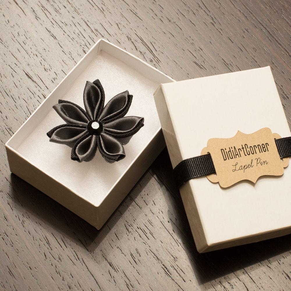 Stylish Beautiful Black Flower Lapel Pin: Flower Lapel Pin Dark Silver Gray And Black Kanzashi
