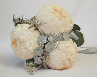 Bridal bouquet,paper flower,bridesmaids bouquet,wedding bouquet,paper flower bouquet,paper flower peony,peonies cream,bridal flower,bouquet