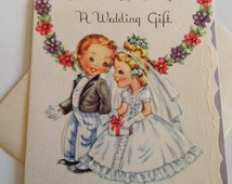 Vintage Die Cut Wedding Greeting Card - Cute Little Couple Wedding Gift Enclosure - Mini Card Unused with Envelope - Vintage Greeting Card