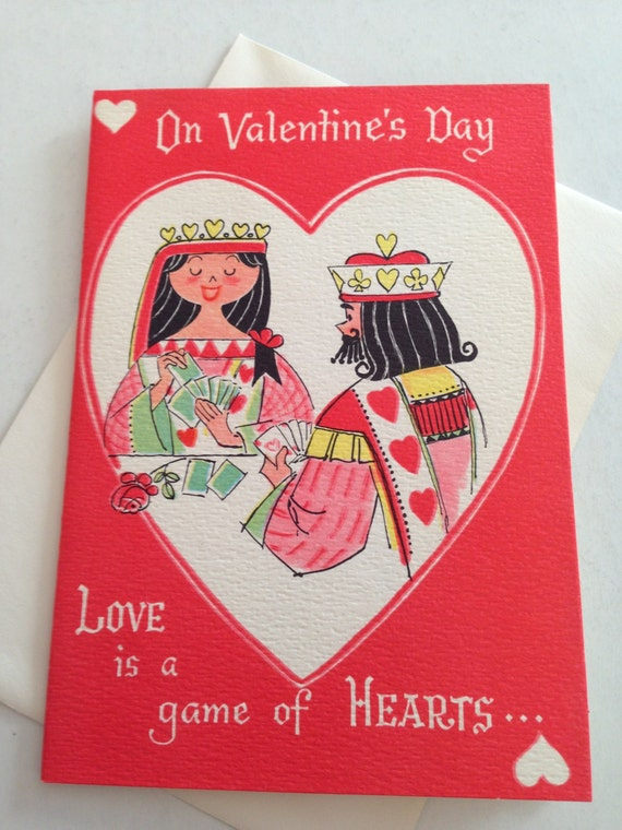 valentines day card shark - Vintage Valentine s Day Card Card Shark King and Queen