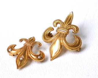 Set Of Two Fleur De Lis - Pin Brooch - Gold Tone - Pearl