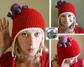 Red and White Earflap Hat with Purple Octopus - Hockey Hat