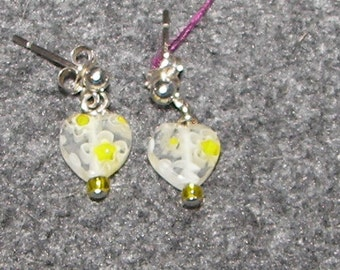 Glass Heart and Sterling Silver Earrings