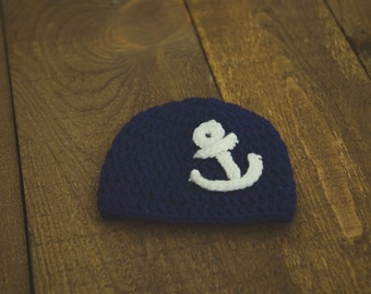 Nautical theme infant baby boy crochet navy blue hat with white anchor