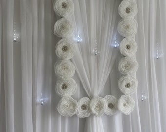 Flower Frame Backdrop with Rhinestone Brooches Large Wedding