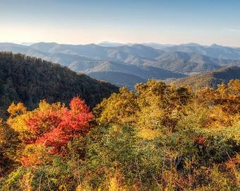 North Carolina Asheville Fine Art Photography Endless Mountains in Autumn Blue Ridge Highway Print Nature Landscape Photo Rustic Cabin Decor