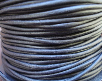1mm natural black leather cord, naturally dyed black leather