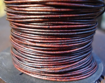0.5mm natural antique brown leather cord, very fine dark brown leather