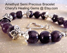 Amethyst Bracelet,Semi Precious Stones, Calming Stone Prosperity and Abundance. 3rd Eye Chakra, Emotional & Spiritual