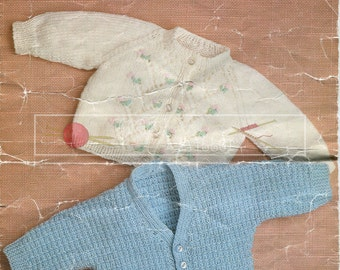 """Baby Classic Cardigans DK 12-20"""" Vintage Knitting Pattern PDF instant download"""
