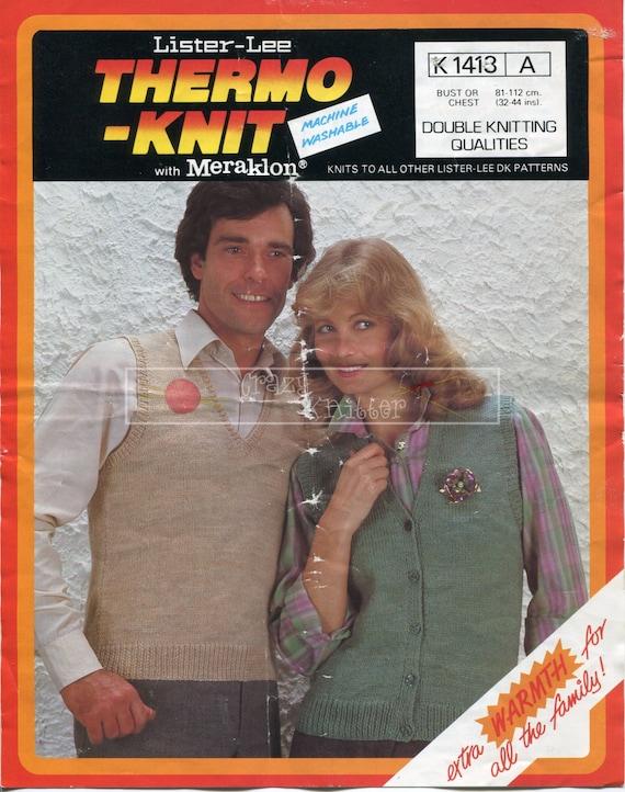 Unisex Slipover Sleeveless Cardigan DK 32-44in Lister-Lee 1413 Vintage Knitting Pattern PDF instant download