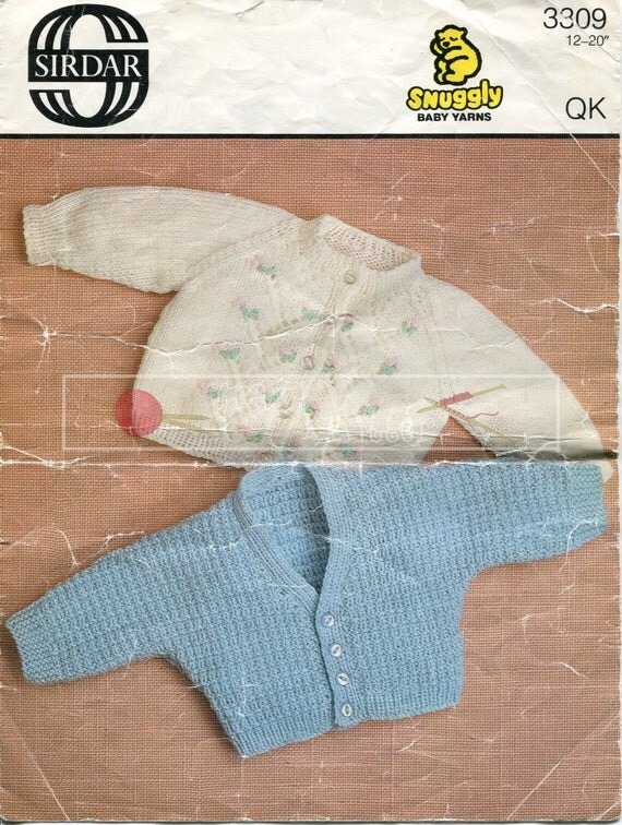 "Baby Classic Cardigans DK 12-20"" Sirdar 3309 Vintage Knitting Pattern PDF instant download"