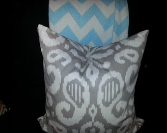 24 x 24 Square Pillow, Grey and off-white Ikat Design