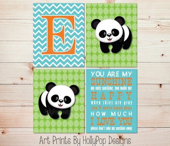 Nursery art prints you are my sunshine panda bear nursery wall for Panda bear decor