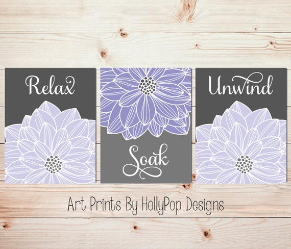 Relax soak unwind purple gray bathroom wall art home decor set for Relax bathroom wall decor
