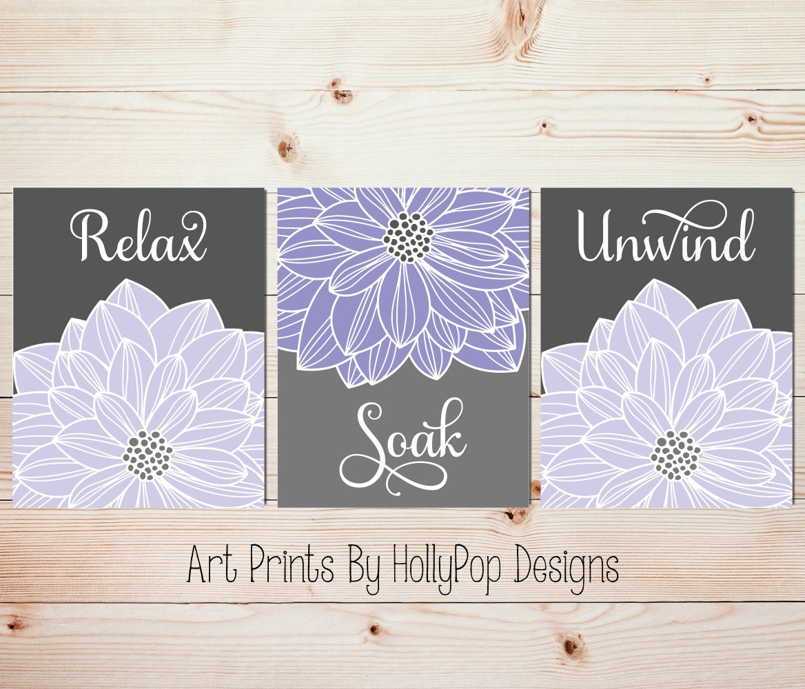 Purple Wall Decor For Bathroom : Relax soak unwind purple gray bathroom wall art home decor set