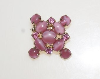 """Opalescent Moonstone Pink Glass Cabochon Rhinestone Gold Tone 1 3/8"""" Pin Brooch"""