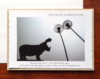 Funny Blank Greeting Card: Hippos and Dandelions