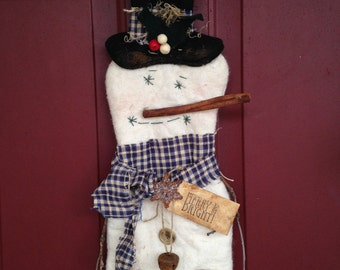 Primitive Christmas Snowman Wall or Door Hanging Decoration, Personalization Available