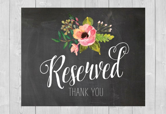 Items Similar To Printable Reserved Sign Chalkboard