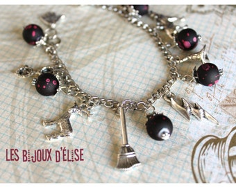 Harry Inspired Bracelet Charms Antique Silver and Beads