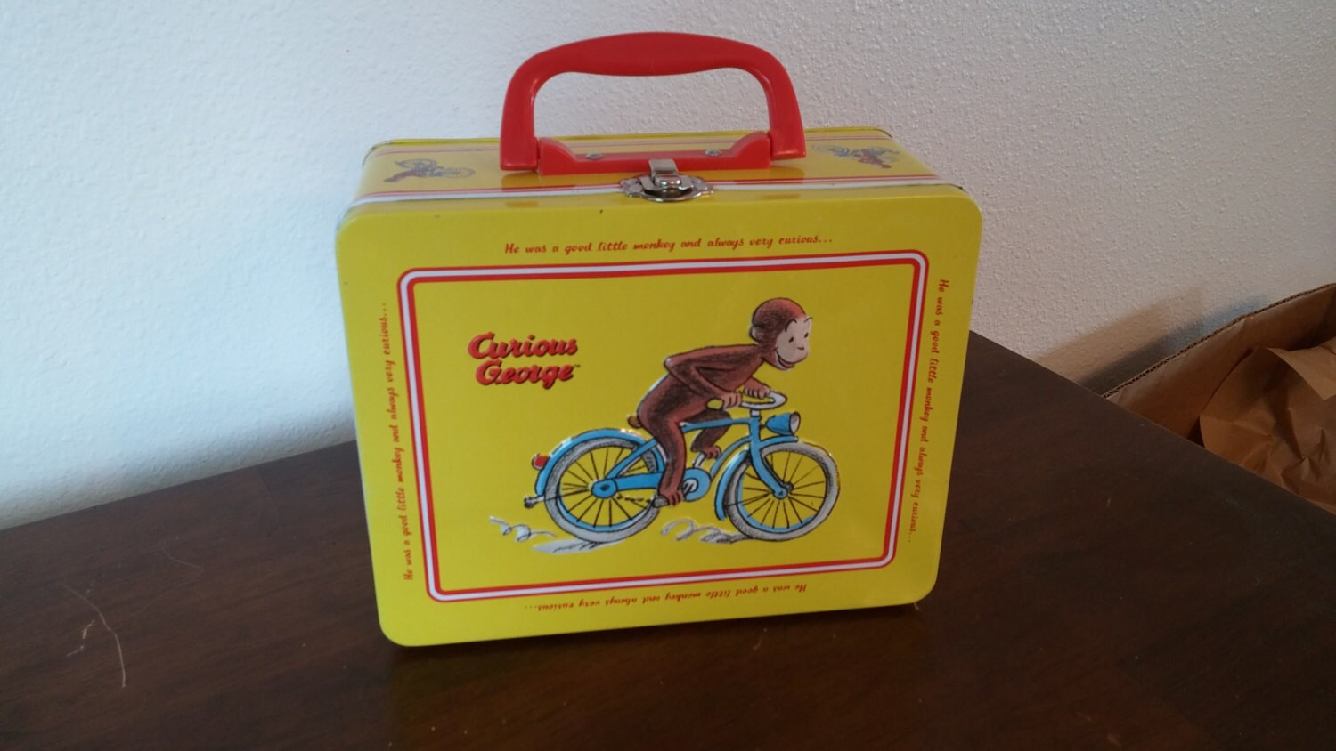 Decorative Box Lunches : Collectible metal curious george lunch box decorative tin with