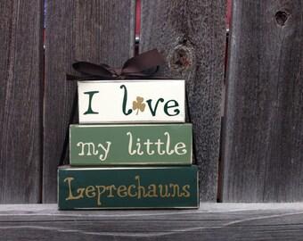 St Patrick's day wood blocks--I love my little Leprechauns