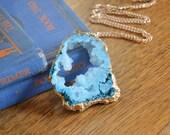 50% off sale! Turquoise Aqua Blue Druzy Agate Pendant Necklace