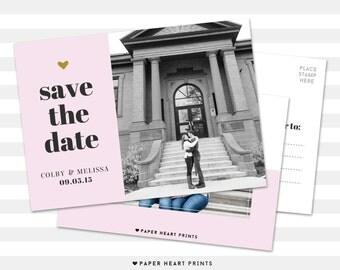 Save-the-Date Postcard, Custom Wedding Photo Card, Modern Save the Date Photo Card - Melissa