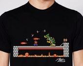 Mario and Bowser Showdown Black T-Shirt- Classic Nintendo Tee