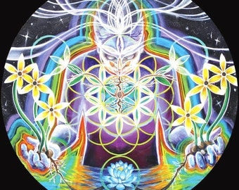 Seeds of Life Within- Visionary Sacred Geometry Art by Morgan Mandala Pearl Paper Print - 10.25 x 10.25 inches
