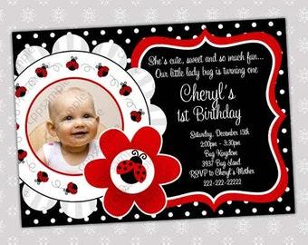 Ladybug Birthday Invitation - Ladybug Birthday Invite - Digital file