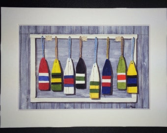 Hanging with the Buoys - Giclee Print of an orriginal watercolor of Lobster Buoys.