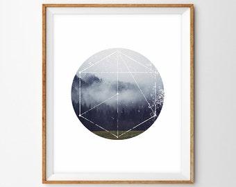 Geometric Foggy Landscape/Mountain Photography Modern Fine Art Print