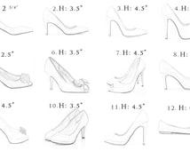 Custom Shoe Size Bridal Wedding Measuring Chart