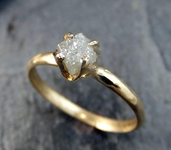 Raw Diamond Engagement Ring Rough Uncut Diamond Solitaire