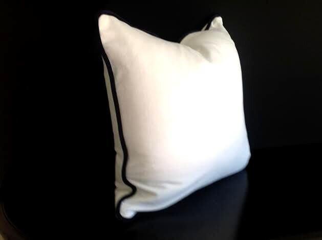 White Velvet Throw Pillow Cover White Cushion Cover with Black
