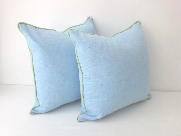 Baby Blue Decorative Pillow : Baby Blue Twill Throw Pillow Cover Blue Cushion Pastel