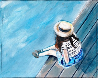 No More Worries. Giclee Art Print, Whimsical girl painting, Modern Home Decor, 5 x 7