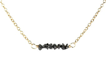 Black diamond necklace - tiny diamond necklace - diamond bar necklace - a row of raw black diamonds on a 14k gold vermeil chain