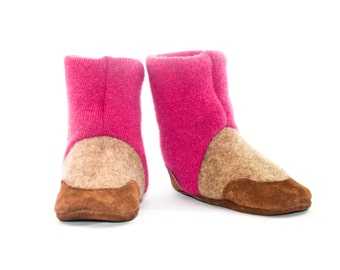 Toddler Cashmere Shoes, Baby Cashmere Slippers, Soft Leather Soles, New and Improved Design. Sizes: 0-12M, 6-18M & 12-24M