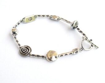 Silver Bracelet, Flower Stamped Bracelet, Silver Stamped Bracelet, Stamped Silver, Stacking Bracelet, Beaded Bracelet, Boho Jewelry
