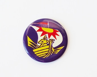 Viking Ship Badge Purple Pin Button Vintage Medieval Pin Back Button Soviet Purple Metal Button USSR Russian